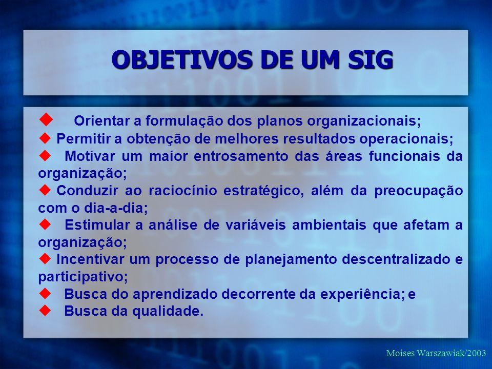 Moises Warszawiak/2003 Orientar a formulação dos planos organizacionais; Permitir a obtenção de melhores resultados operacionais; Motivar um maior ent