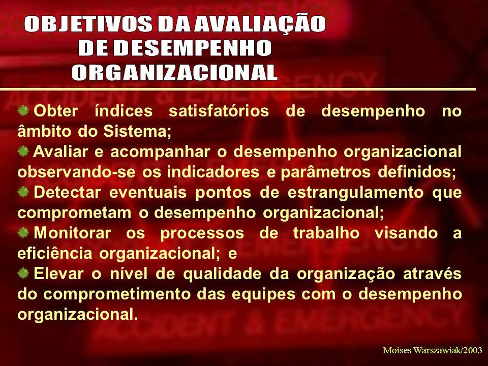 Moises Warszawiak/2003 Obter índices satisfatórios de desempenho no âmbito do Sistema; Avaliar e acompanhar o desempenho organizacional observando-se