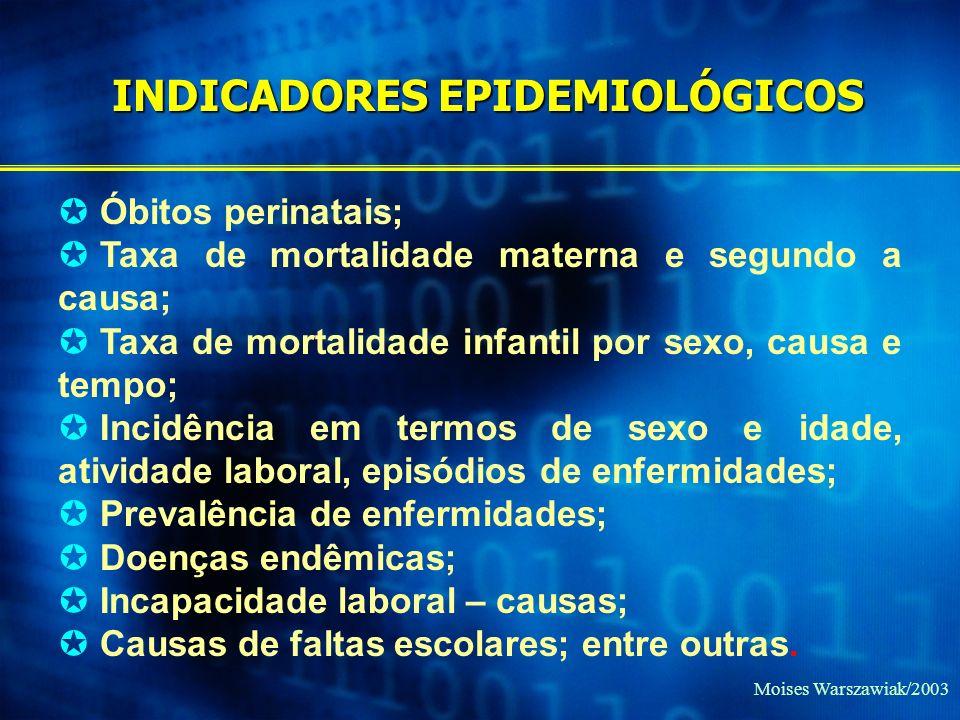 Moises Warszawiak/2003 Óbitos perinatais; Taxa de mortalidade materna e segundo a causa; Taxa de mortalidade infantil por sexo, causa e tempo; Incidên