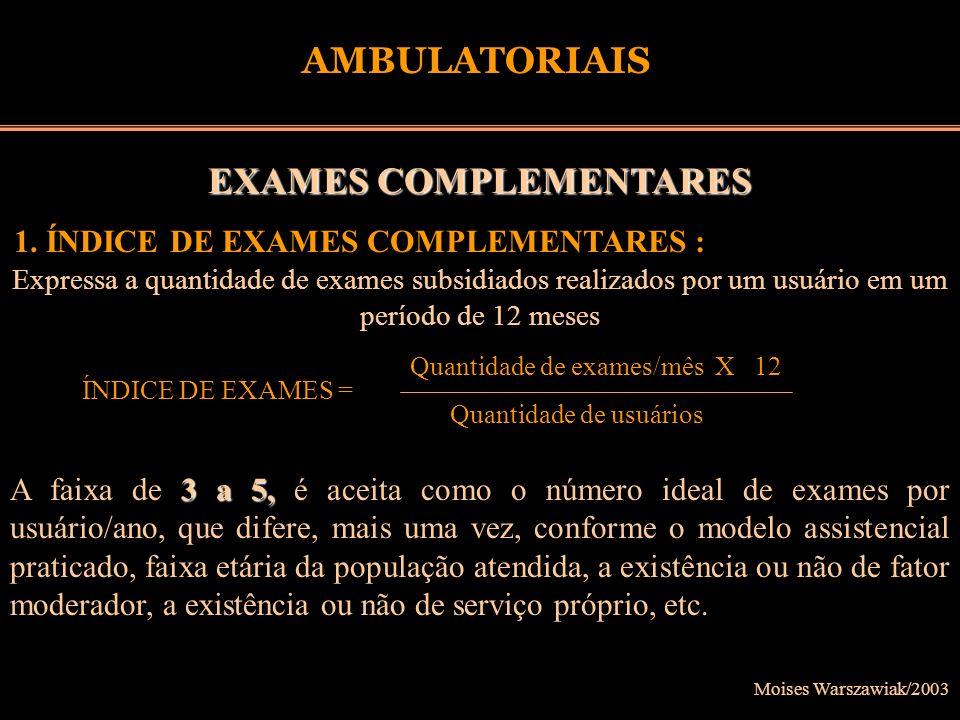 Moises Warszawiak/2003 AMBULATORIAIS EXAMES COMPLEMENTARES 1. ÍNDICE DE EXAMES COMPLEMENTARES : Expressa a quantidade de exames subsidiados realizados