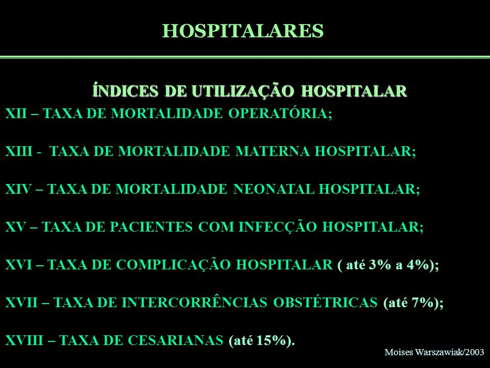 Moises Warszawiak/2003 HOSPITALARES ÍNDICES DE UTILIZAÇÃO HOSPITALAR XII – TAXA DE MORTALIDADE OPERATÓRIA; XIII - TAXA DE MORTALIDADE MATERNA HOSPITAL