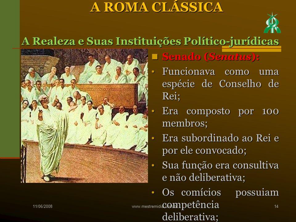 Senado (Senatus): Senado (Senatus): Funcionava como uma espécie de Conselho de Rei; Funcionava como uma espécie de Conselho de Rei; Era composto por 1