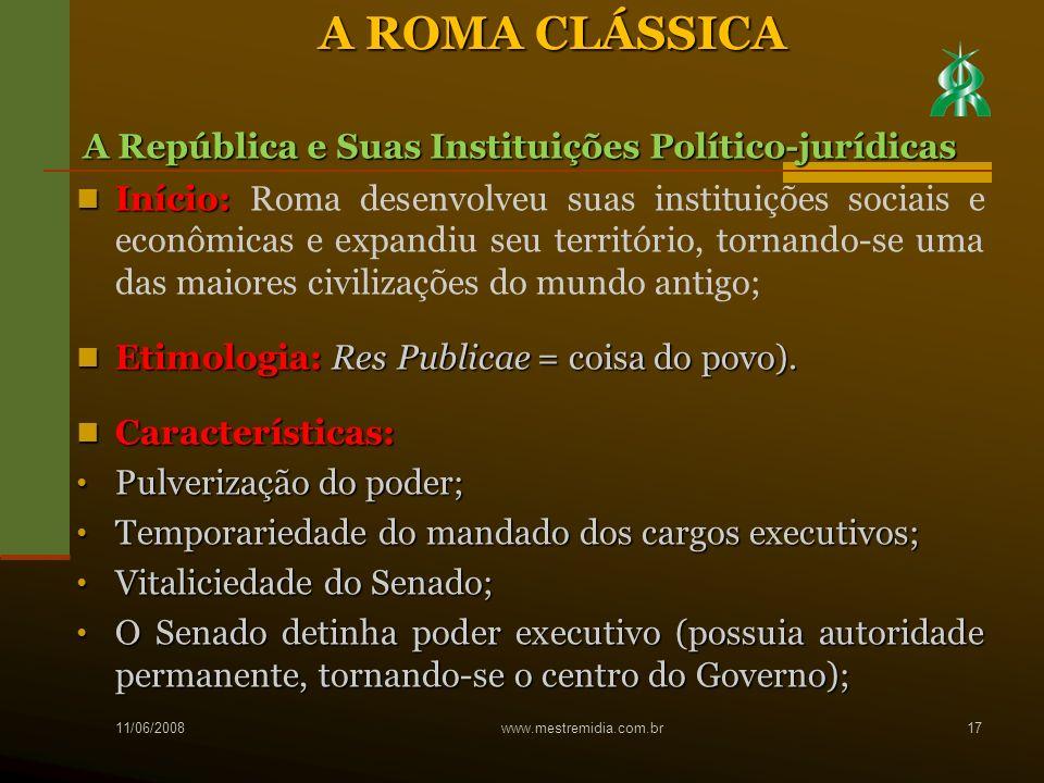 Início: Início: Roma desenvolveu suas instituições sociais e econômicas e expandiu seu território, tornando-se uma das maiores civilizações do mundo a