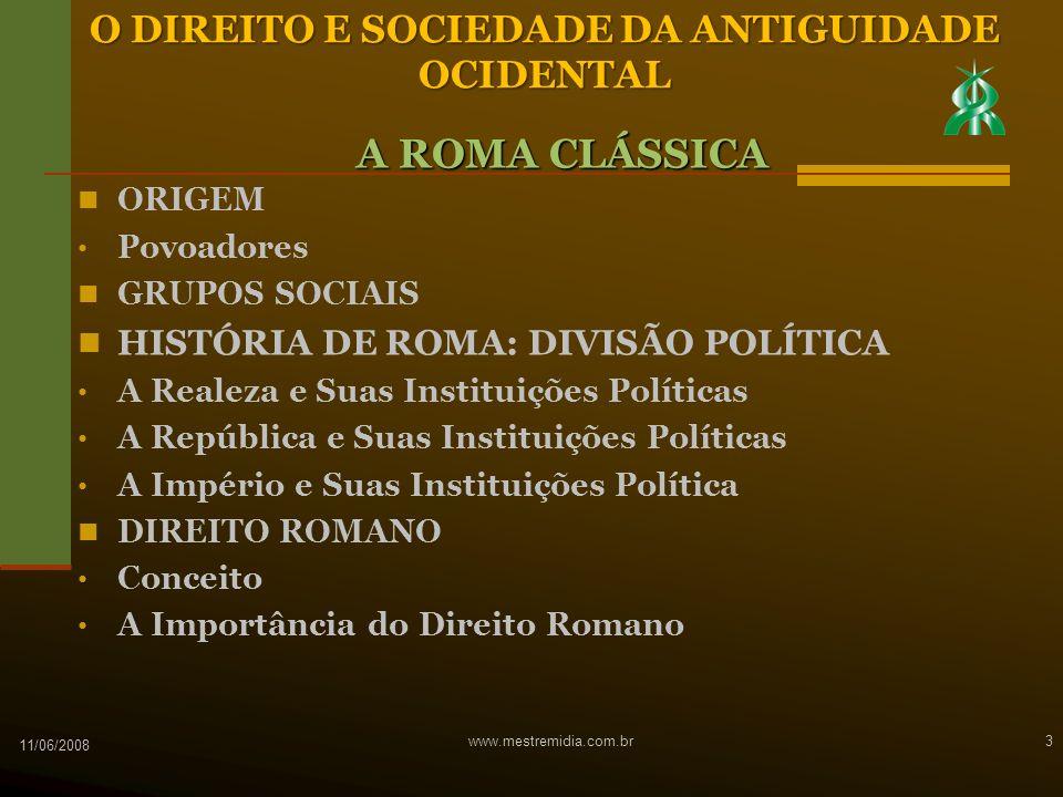 ORIGEM Povoadores GRUPOS SOCIAIS HISTÓRIA DE ROMA: DIVISÃO POLÍTICA A Realeza e Suas Instituições Políticas A República e Suas Instituições Políticas