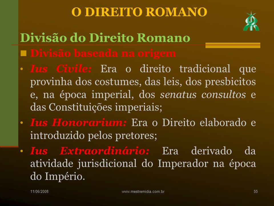 Divisão baseada na origem Ius Civile: Era o direito tradicional que provinha dos costumes, das leis, dos presbicitos e, na época imperial, dos senatus