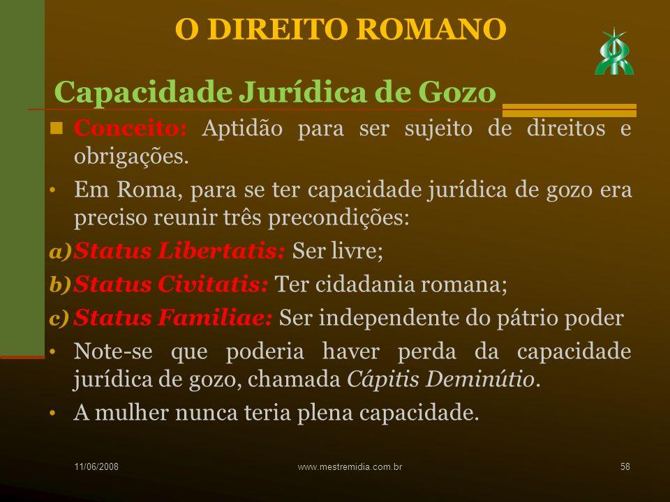 Conceito: Aptidão para ser sujeito de direitos e obrigações. Em Roma, para se ter capacidade jurídica de gozo era preciso reunir três precondições: a)