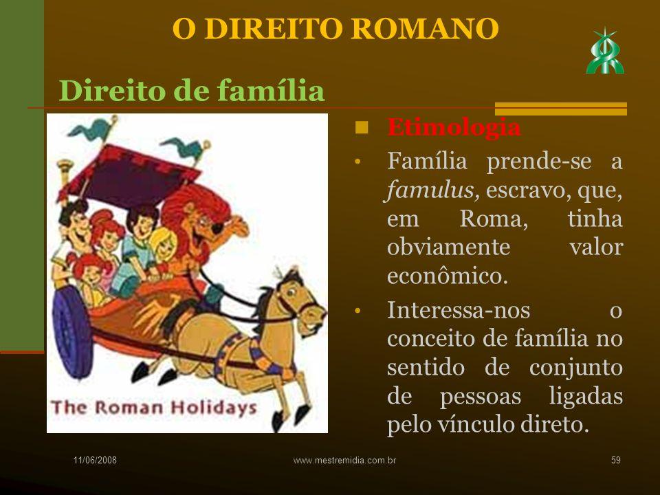 Etimologia Família prende-se a famulus, escravo, que, em Roma, tinha obviamente valor econômico. Interessa-nos o conceito de família no sentido de con