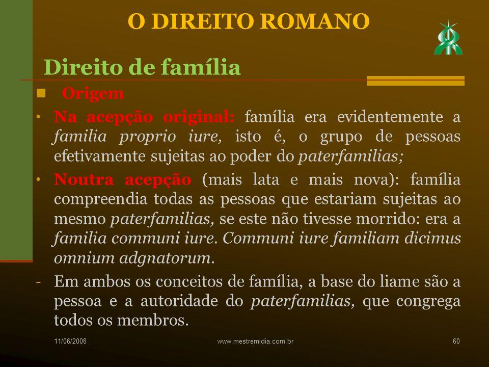Origem Na acepção original: família era evidentemente a familia proprio iure, isto é, o grupo de pessoas efetivamente sujeitas ao poder do paterfamili