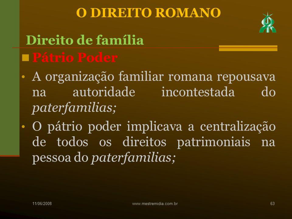 Pátrio Poder A organização familiar romana repousava na autoridade incontestada do paterfamilias; O pátrio poder implicava a centralização de todos os