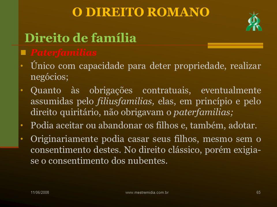 Paterfamilias Único com capacidade para deter propriedade, realizar negócios; Quanto às obrigações contratuais, eventualmente assumidas pelo filiusfam