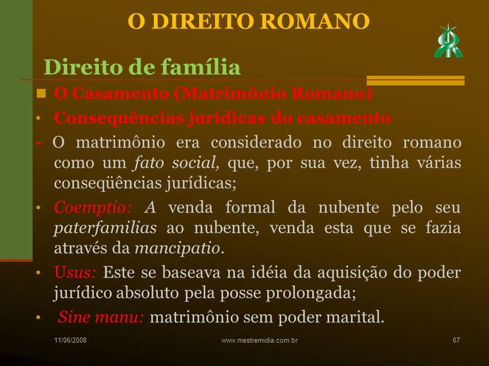 O Casamento (Matrimônio Romano) Consequências jurídicas do casamento - O matrimônio era considerado no direito romano como um fato social, que, por su