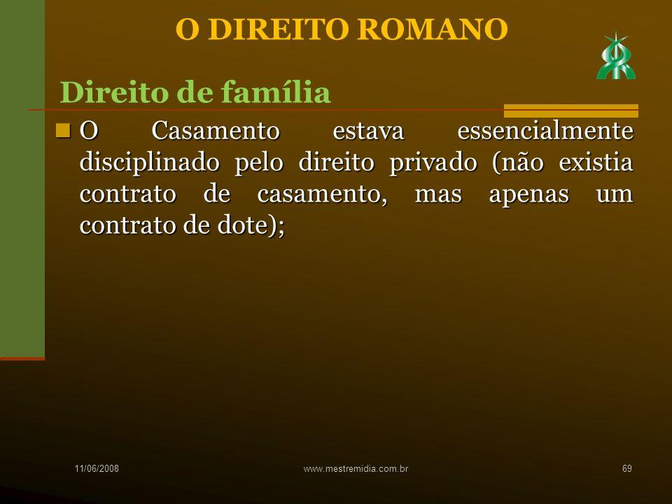 O Casamento estava essencialmente disciplinado pelo direito privado (não existia contrato de casamento, mas apenas um contrato de dote); O Casamento e