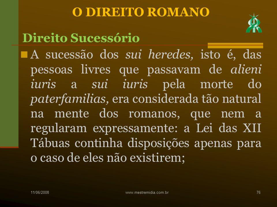 A sucessão dos sui heredes, isto é, das pessoas livres que passavam de alieni iuris a sui iuris pela morte do paterfamilias, era considerada tão natur