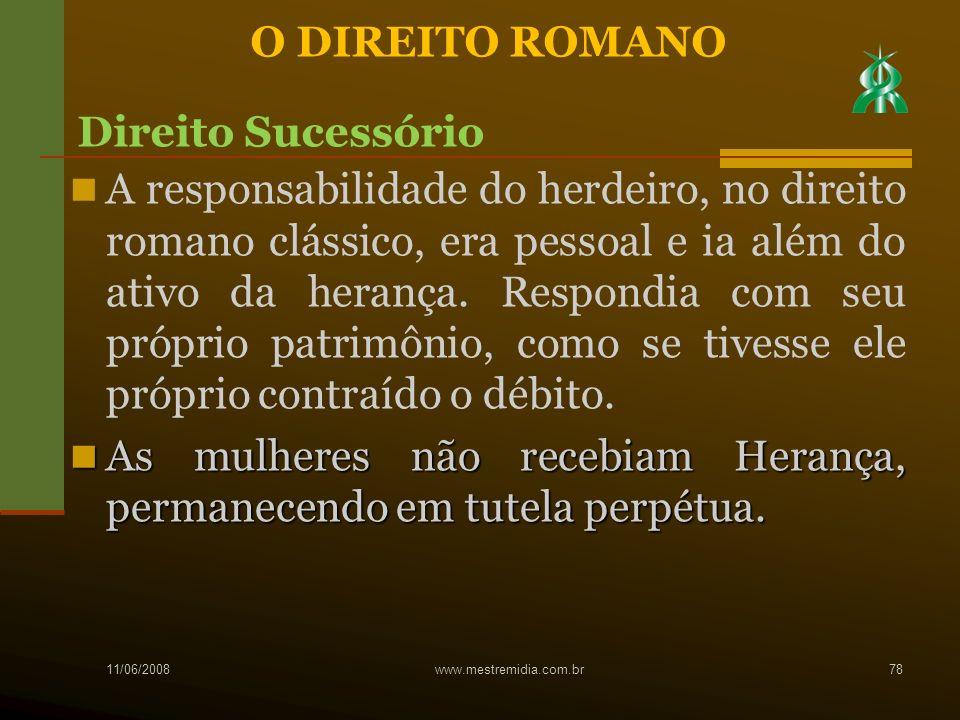 A responsabilidade do herdeiro, no direito romano clássico, era pessoal e ia além do ativo da herança. Respondia com seu próprio patrimônio, como se t