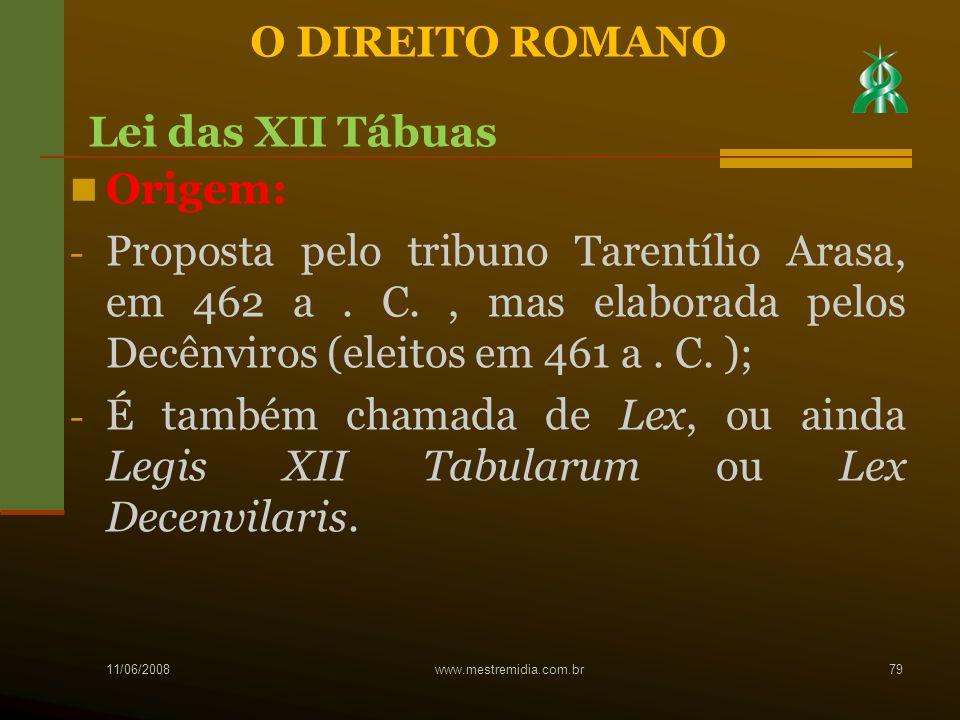 Origem: - Proposta pelo tribuno Tarentílio Arasa, em 462 a. C., mas elaborada pelos Decênviros (eleitos em 461 a. C. ); - É também chamada de Lex, ou
