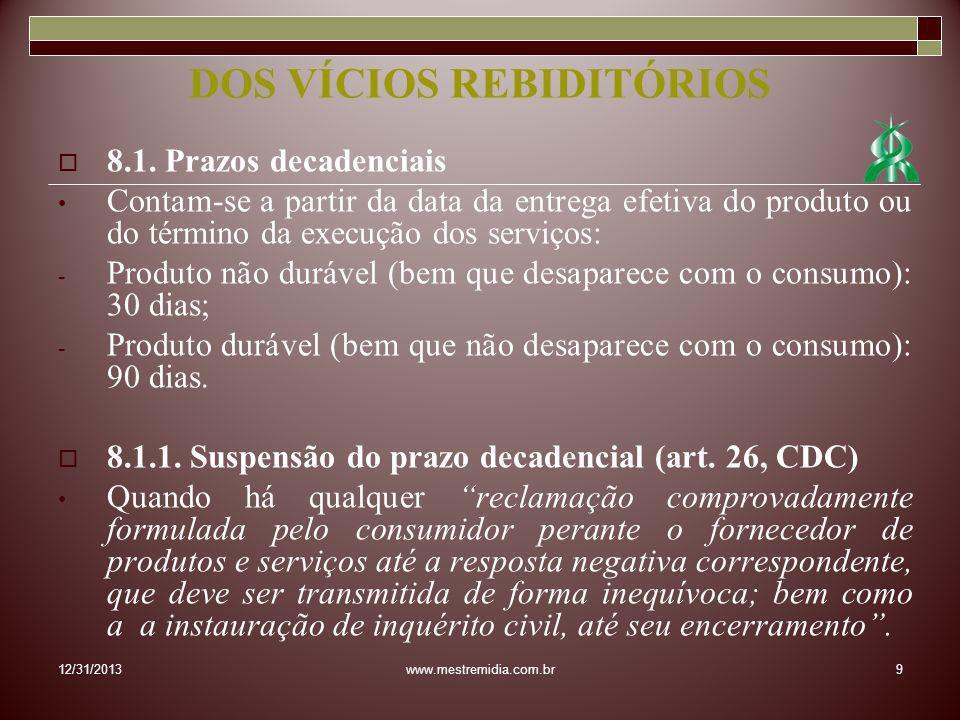 8.1. Prazos decadenciais Contam-se a partir da data da entrega efetiva do produto ou do término da execução dos serviços: - Produto não durável (bem q