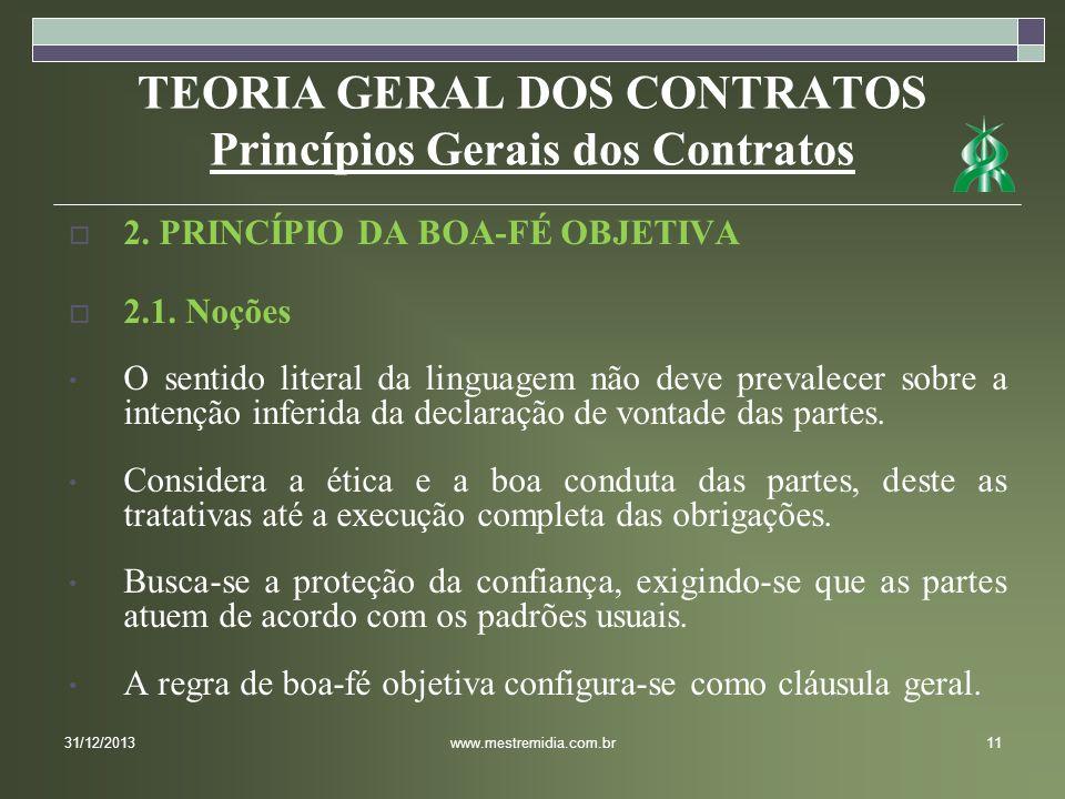 TEORIA GERAL DOS CONTRATOS Princípios Gerais dos Contratos 2. PRINCÍPIO DA BOA-FÉ OBJETIVA 2.1. Noções O sentido literal da linguagem não deve prevale