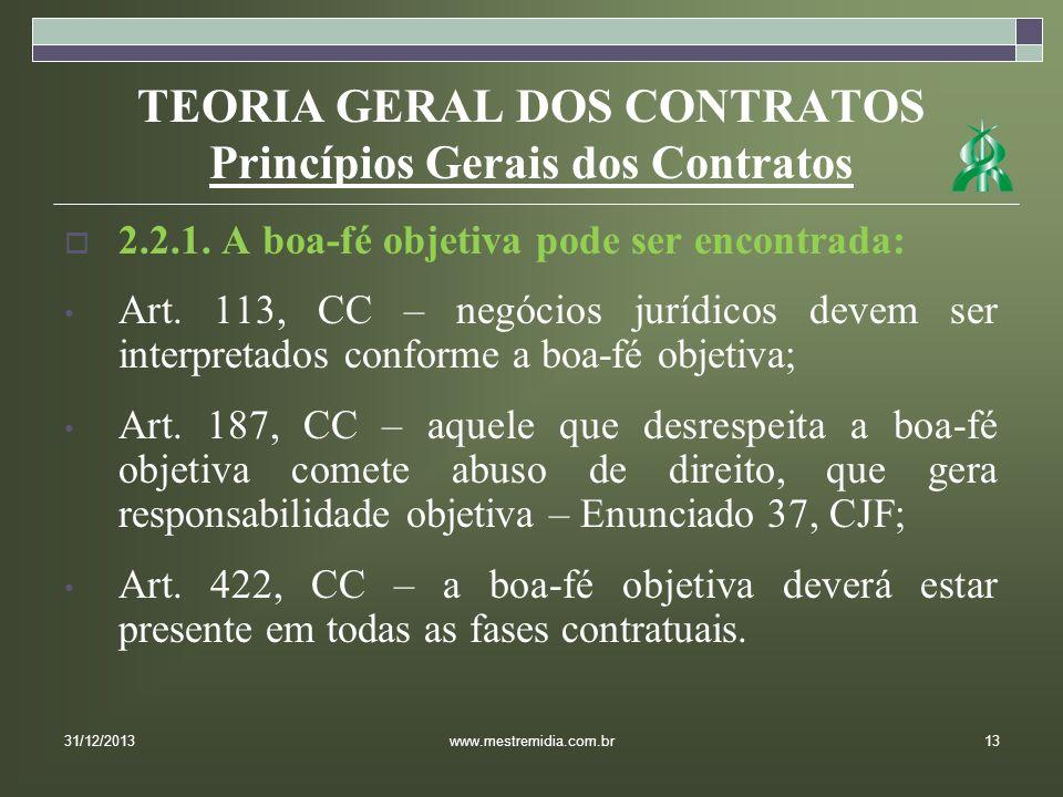 TEORIA GERAL DOS CONTRATOS Princípios Gerais dos Contratos 2.2.1. A boa-fé objetiva pode ser encontrada: Art. 113, CC – negócios jurídicos devem ser i