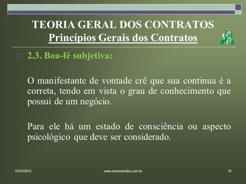 TEORIA GERAL DOS CONTRATOS Princípios Gerais dos Contratos 2.3. Boa-fé subjetiva: O manifestante de vontade crê que sua continua é a correta, tendo em