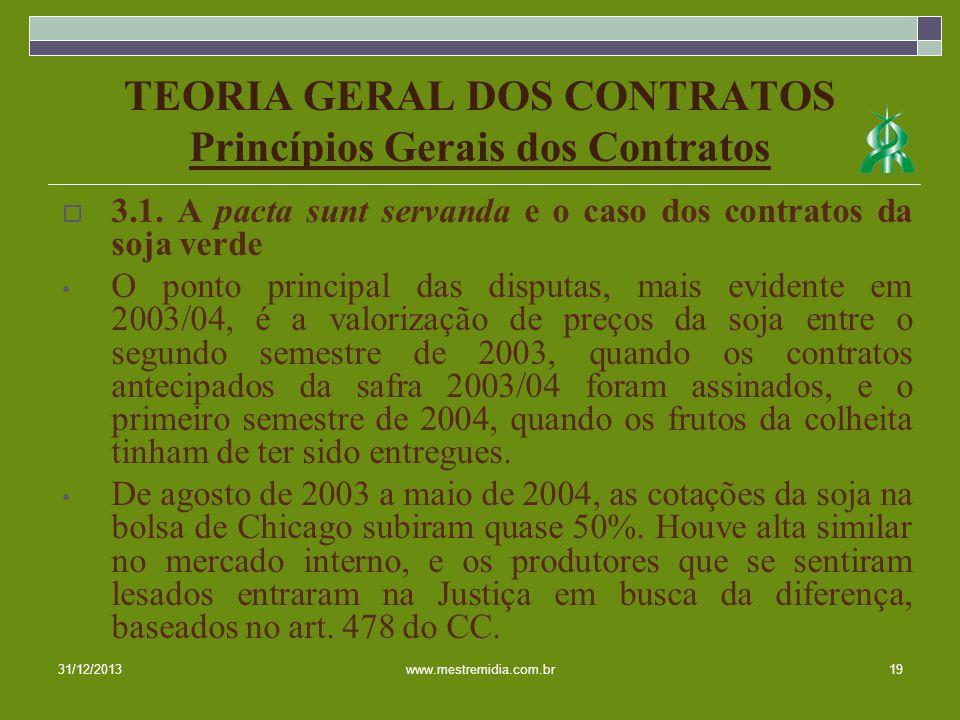 TEORIA GERAL DOS CONTRATOS Princípios Gerais dos Contratos 3.1. A pacta sunt servanda e o caso dos contratos da soja verde O ponto principal das dispu