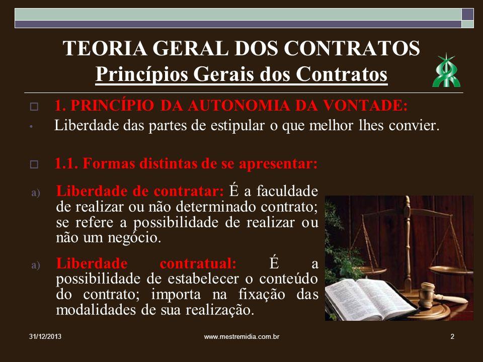 TEORIA GERAL DOS CONTRATOS Princípios Gerais dos Contratos 2.2.1.