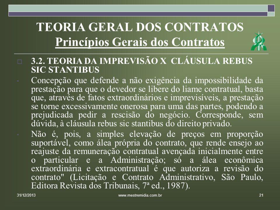 TEORIA GERAL DOS CONTRATOS Princípios Gerais dos Contratos 3.2. TEORIA DA IMPREVISÃO X CLÁUSULA REBUS SIC STANTIBUS Concepção que defende a não exigên