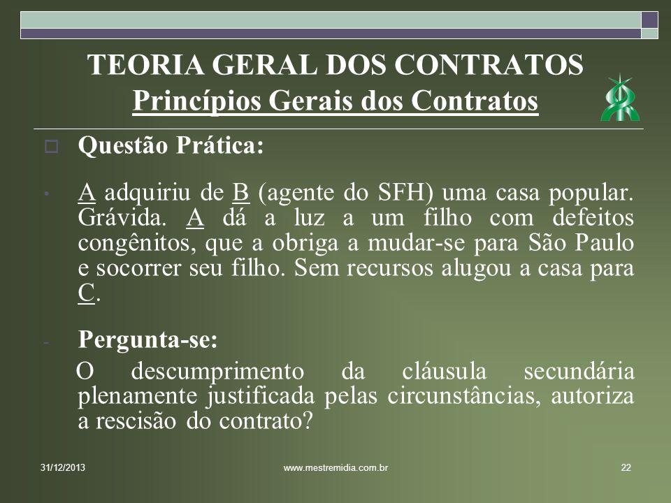 TEORIA GERAL DOS CONTRATOS Princípios Gerais dos Contratos Questão Prática: A adquiriu de B (agente do SFH) uma casa popular. Grávida. A dá a luz a um