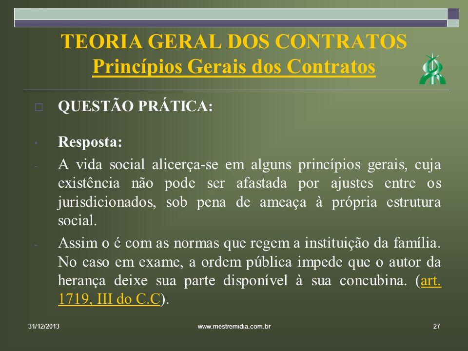 TEORIA GERAL DOS CONTRATOS Princípios Gerais dos Contratos QUESTÃO PRÁTICA: Resposta: - A vida social alicerça-se em alguns princípios gerais, cuja ex
