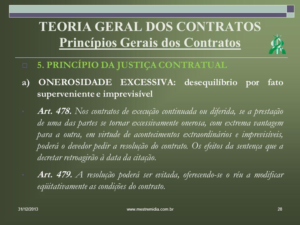 TEORIA GERAL DOS CONTRATOS Princípios Gerais dos Contratos 5. PRINCÍPIO DA JUSTIÇA CONTRATUAL a) ONEROSIDADE EXCESSIVA: desequilíbrio por fato superve