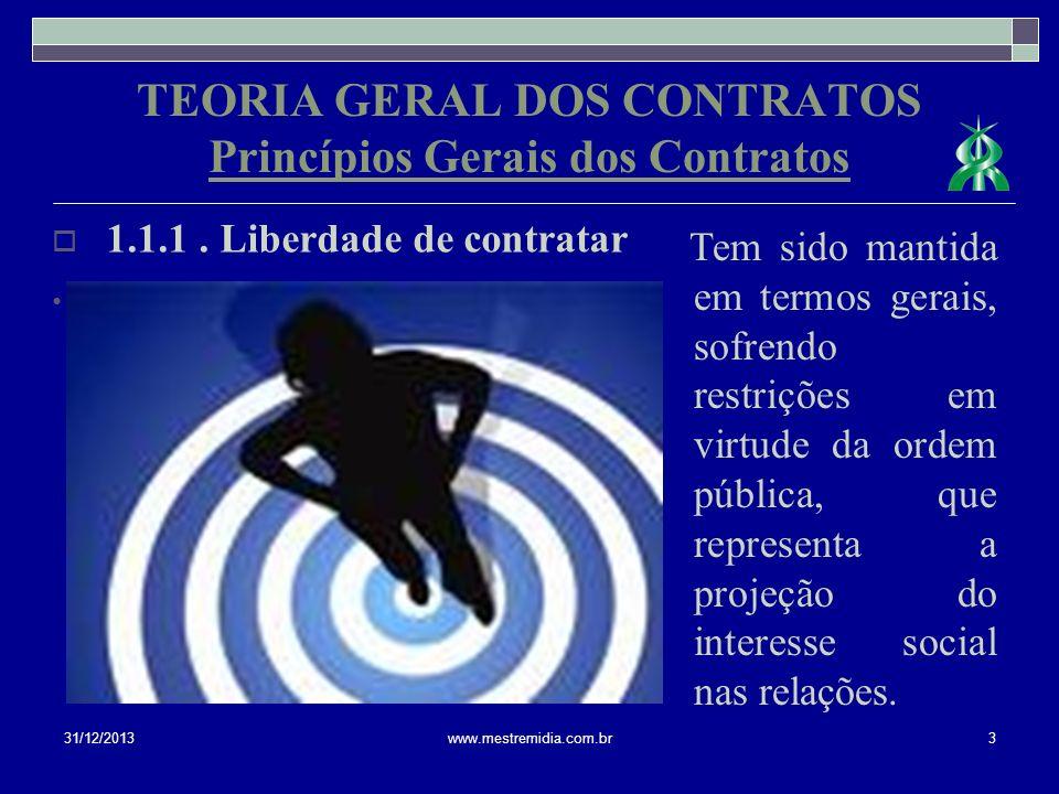 TEORIA GERAL DOS CONTRATOS Princípios Gerais dos Contratos 1.1.1. Liberdade de contratar 31/12/20133www.mestremidia.com.br Tem sido mantida em termos