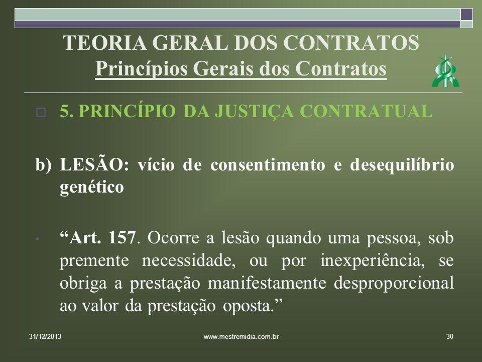 TEORIA GERAL DOS CONTRATOS Princípios Gerais dos Contratos 5. PRINCÍPIO DA JUSTIÇA CONTRATUAL b) LESÃO: vício de consentimento e desequilíbrio genétic