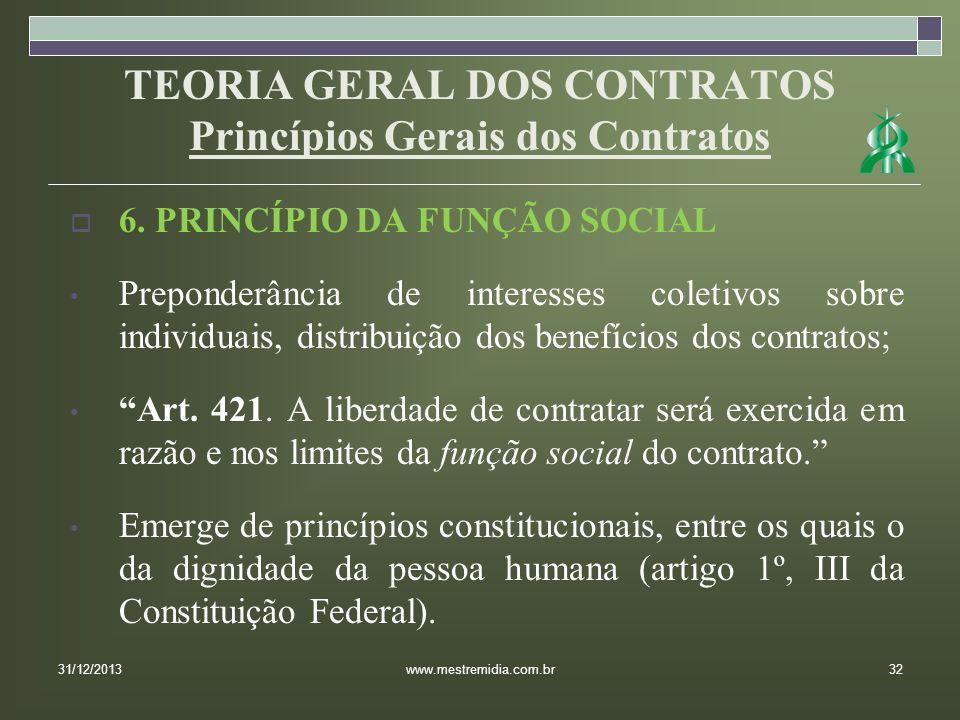 TEORIA GERAL DOS CONTRATOS Princípios Gerais dos Contratos 6. PRINCÍPIO DA FUNÇÃO SOCIAL Preponderância de interesses coletivos sobre individuais, dis