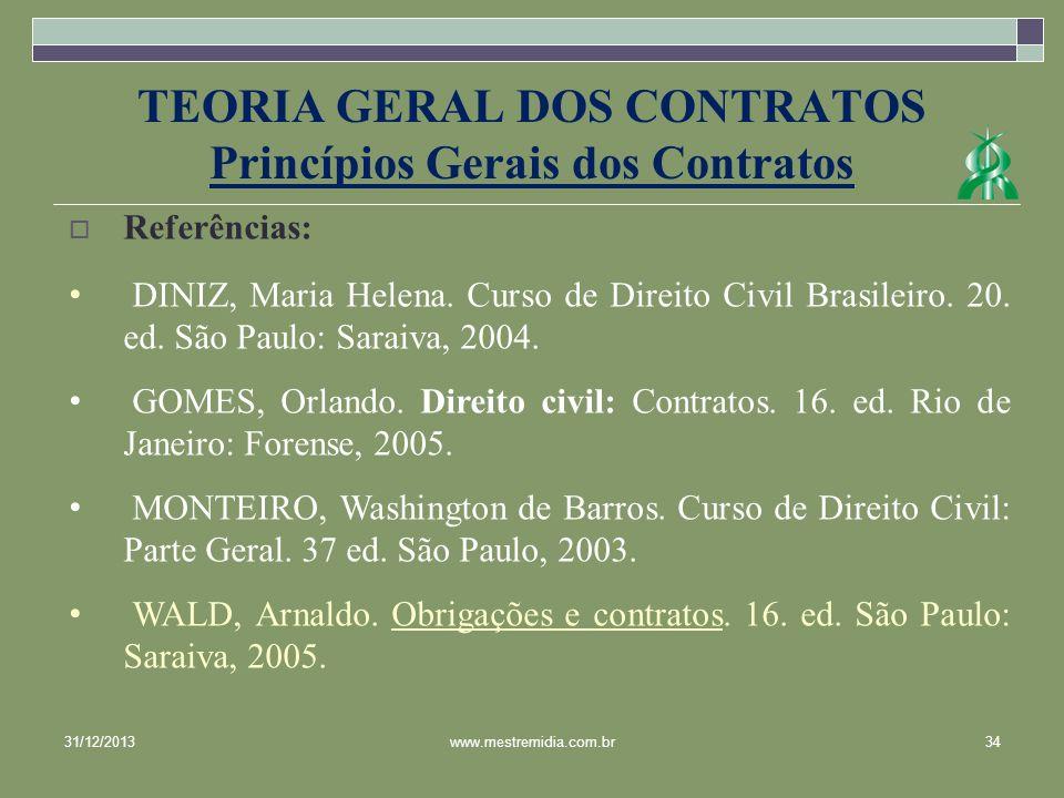 31/12/201334www.mestremidia.com.br Referências: DINIZ, Maria Helena. Curso de Direito Civil Brasileiro. 20. ed. São Paulo: Saraiva, 2004. GOMES, Orlan