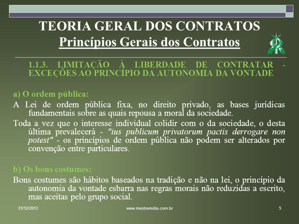 TEORIA GERAL DOS CONTRATOS Princípios Gerais dos Contratos 1.1.3. LIMITAÇÃO À LIBERDADE DE CONTRATAR - EXCEÇÕES AO PRINCÍPIO DA AUTONOMIA DA VONTADE a