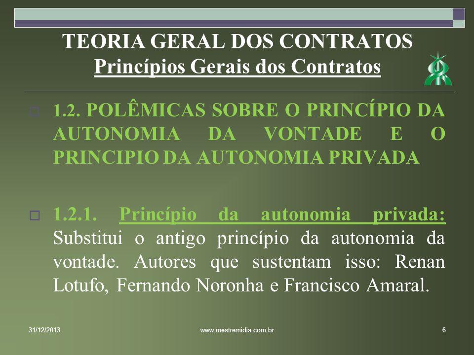 TEORIA GERAL DOS CONTRATOS Princípios Gerais dos Contratos 1.2. POLÊMICAS SOBRE O PRINCÍPIO DA AUTONOMIA DA VONTADE E O PRINCIPIO DA AUTONOMIA PRIVADA
