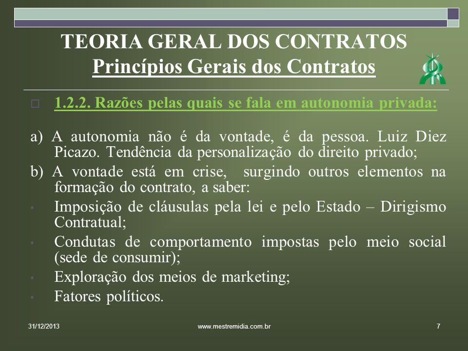 TEORIA GERAL DOS CONTRATOS Princípios Gerais dos Contratos 1.2.2.