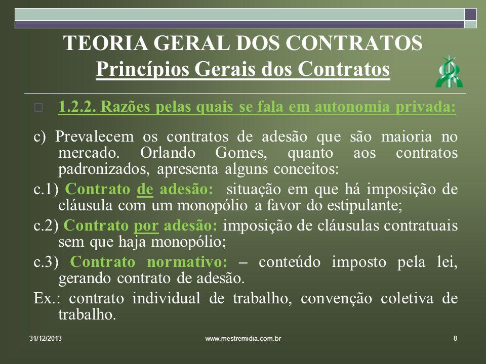 TEORIA GERAL DOS CONTRATOS Princípios Gerais dos Contratos 1.2.2. Razões pelas quais se fala em autonomia privada: c) Prevalecem os contratos de adesã