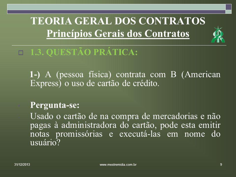 TEORIA GERAL DOS CONTRATOS Princípios Gerais dos Contratos 1.3. QUESTÃO PRÁTICA: 1-) A (pessoa física) contrata com B (American Express) o uso de cart