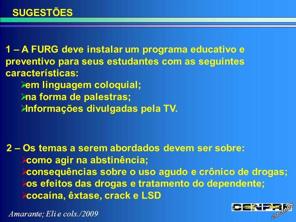 SUGESTÕES 1 – A FURG deve instalar um programa educativo e preventivo para seus estudantes com as seguintes características: em linguagem coloquial; n