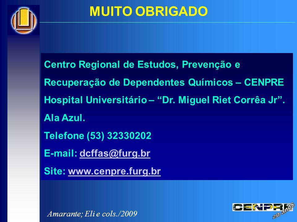 Centro Regional de Estudos, Prevenção e Recuperação de Dependentes Químicos – CENPRE Hospital Universitário – Dr. Miguel Riet Corrêa Jr. Ala Azul. Tel