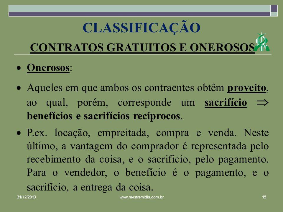 CONTRATOS GRATUITOS E ONEROSOS Onerosos: Aqueles em que ambos os contraentes obtêm proveito, ao qual, porém, corresponde um sacrifício benefícios e sa