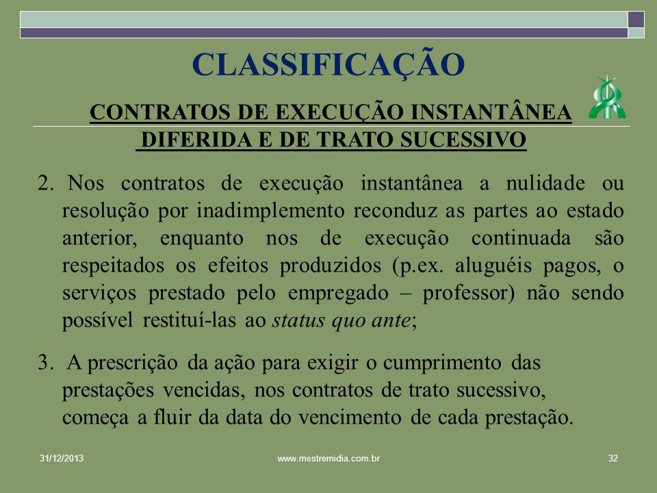 CONTRATOS DE EXECUÇÃO INSTANTÂNEA DIFERIDA E DE TRATO SUCESSIVO 2. Nos contratos de execução instantânea a nulidade ou resolução por inadimplemento re