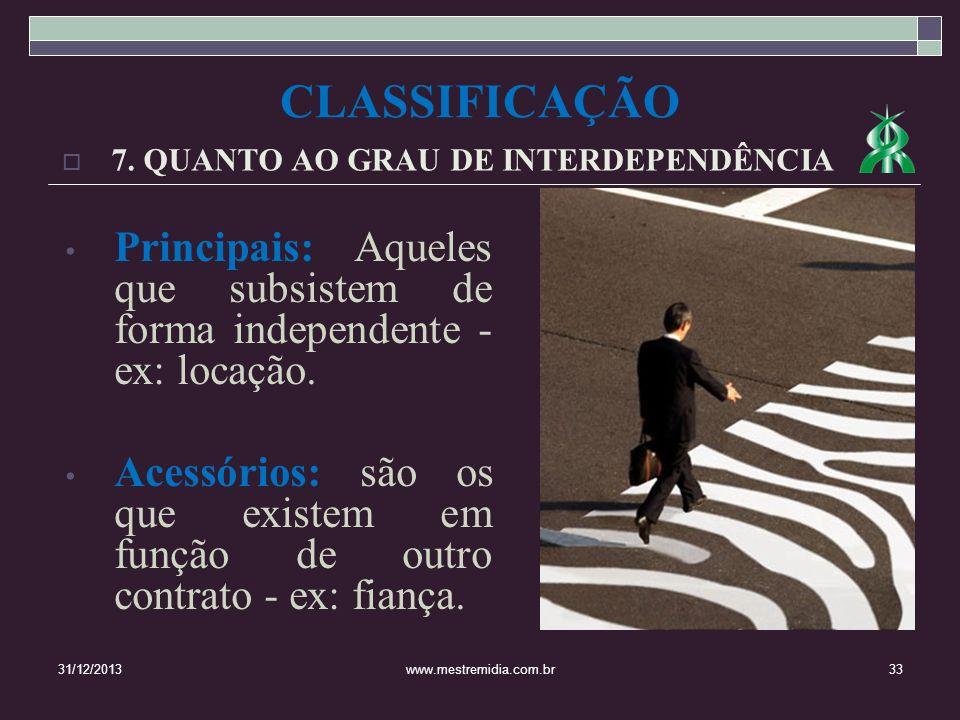 7. QUANTO AO GRAU DE INTERDEPENDÊNCIA 31/12/201333www.mestremidia.com.br Principais: Aqueles que subsistem de forma independente - ex: locação. Acessó