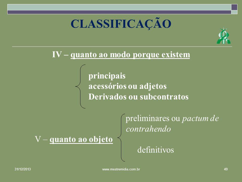 IV – quanto ao modo porque existem principais acessórios ou adjetos Derivados ou subcontratos CLASSIFICAÇÃO 31/12/201349www.mestremidia.com.br prelimi