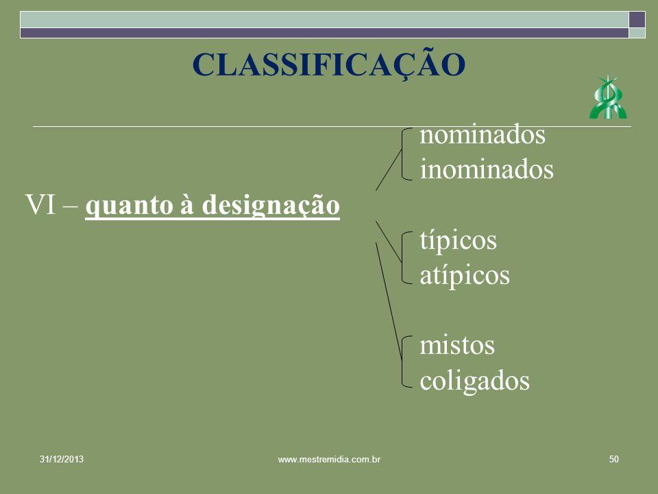 nominados inominados VI – quanto à designação típicos atípicos mistos coligados CLASSIFICAÇÃO 31/12/201350www.mestremidia.com.br