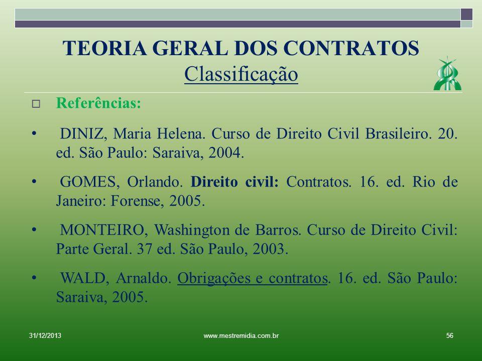 31/12/201356www.mestremidia.com.br Referências: DINIZ, Maria Helena. Curso de Direito Civil Brasileiro. 20. ed. São Paulo: Saraiva, 2004. GOMES, Orlan