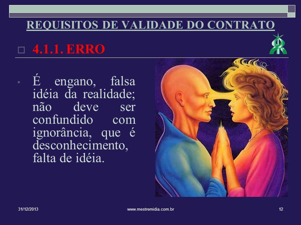 4.1.1. ERRO É engano, falsa idéia da realidade; não deve ser confundido com ignorância, que é desconhecimento, falta de idéia. 31/12/201312www.mestrem