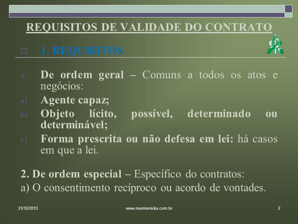 REQUISITOS DE VALIDADE DO CONTRATO 1. REQUISITOS 1. De ordem geral – Comuns a todos os atos e negócios: a) Agente capaz; b) Objeto lícito, possível, d