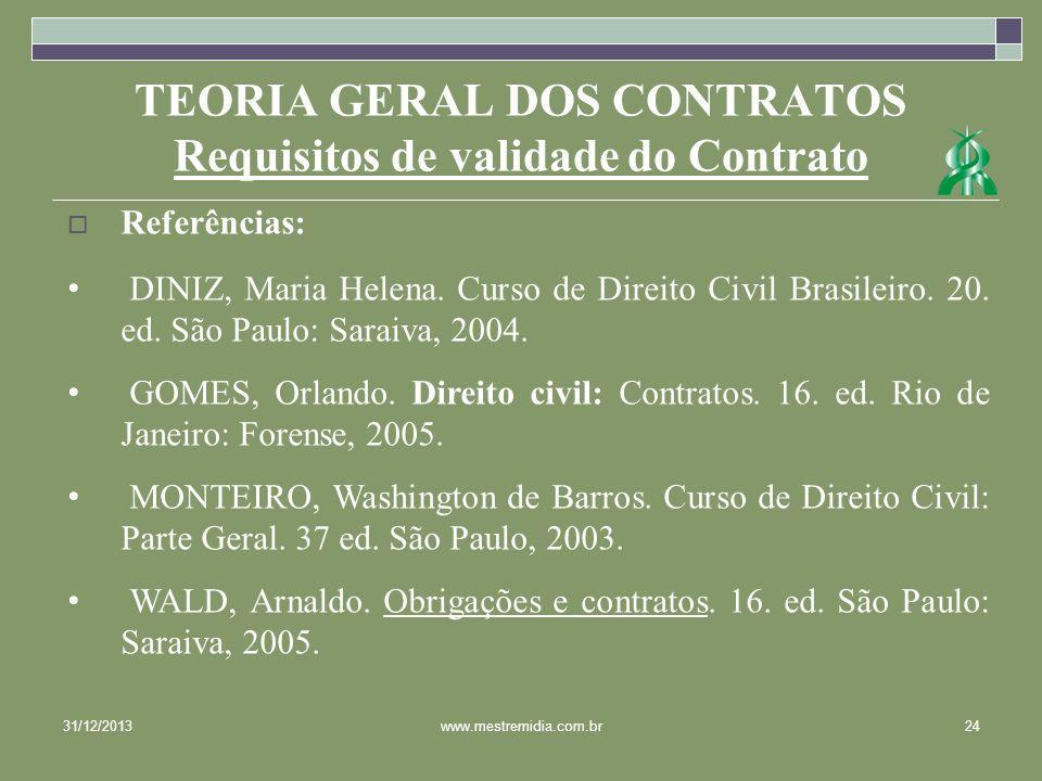 31/12/201324www.mestremidia.com.br Referências: DINIZ, Maria Helena. Curso de Direito Civil Brasileiro. 20. ed. São Paulo: Saraiva, 2004. GOMES, Orlan