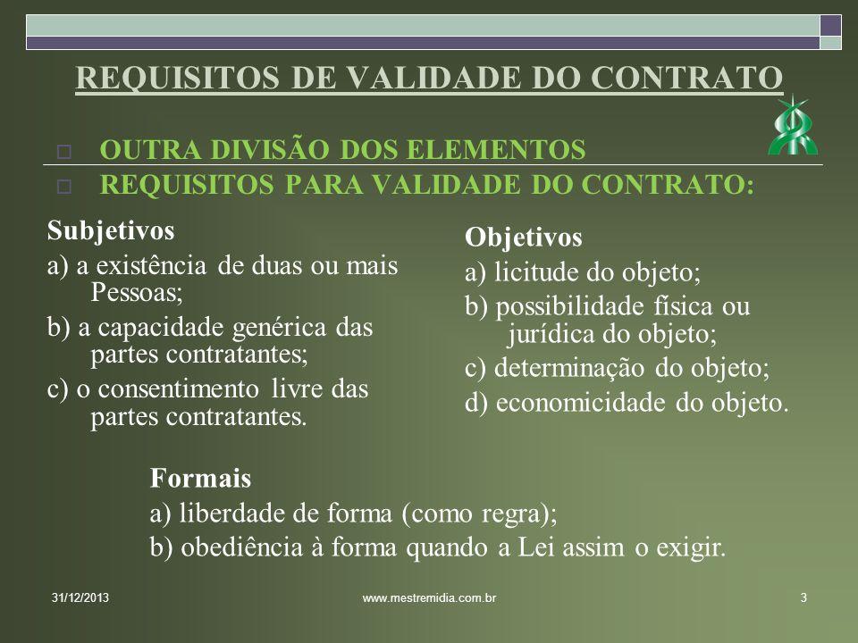 OUTRA DIVISÃO DOS ELEMENTOS REQUISITOS PARA VALIDADE DO CONTRATO: 31/12/20133www.mestremidia.com.br Subjetivos a) a existência de duas ou mais Pessoas